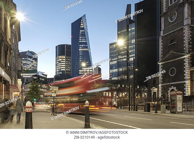 England, London, Aldgate high Street at night with view of the Financial Centre The city of London