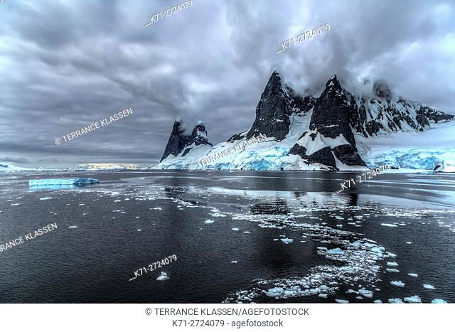 Scenic landscape of mountains and glaciers in the Neumayer Channel of the Antarctic Peninsula, Antarctica