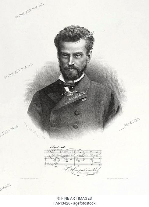 Portrait of Eduard Nápravník by Borel, Pyotr Fyodorovich (1829-1898)/Lithography/Academic art/1889/Russia/State Hermitage, St