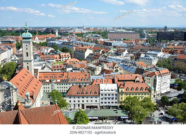 MUNICH, GERMANY, MAY 28: Aerial view over Munich, Germany on May 28, 2013. Munich is the biggest city of Bavaria with almost 100 million visitors a year