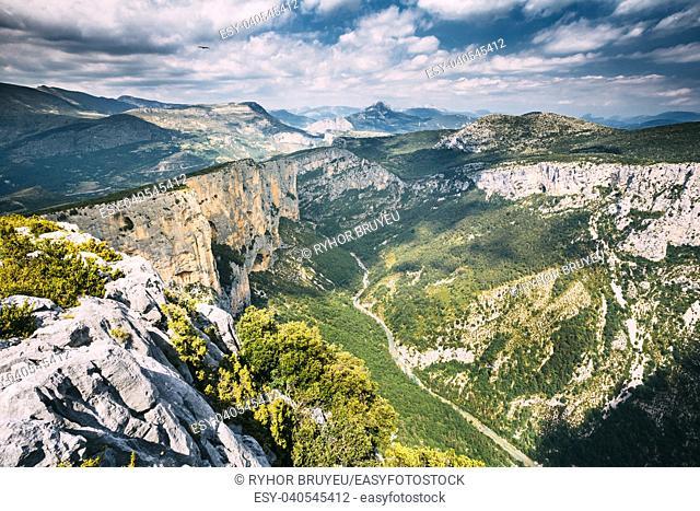 Beautiful amazing landscape of the Gorges Du Verdon in south-eastern France. Provence-Alpes-Cote d'Azur