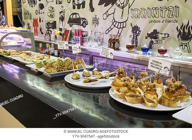Pintxos on counter. Bar Irrintzi, Old Town, Bilbao, Basque Country, Spain