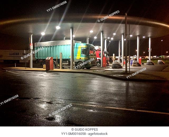 E40 Highway, Belgium. Gasstation for trucks at night