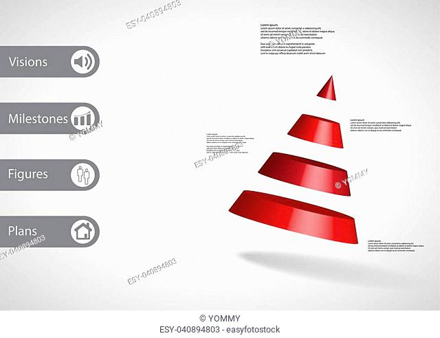 3D illustration infographic template with motif of cone divided to four red parts askew arranged with simple sign and sample text on side in bars