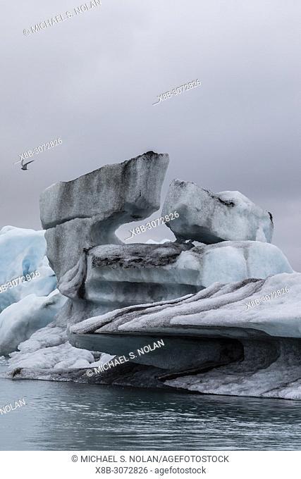 Calved ice from the Breidamerkurjokull glacier in Jökulsárlón glacial lagoon, southeast coast of Iceland
