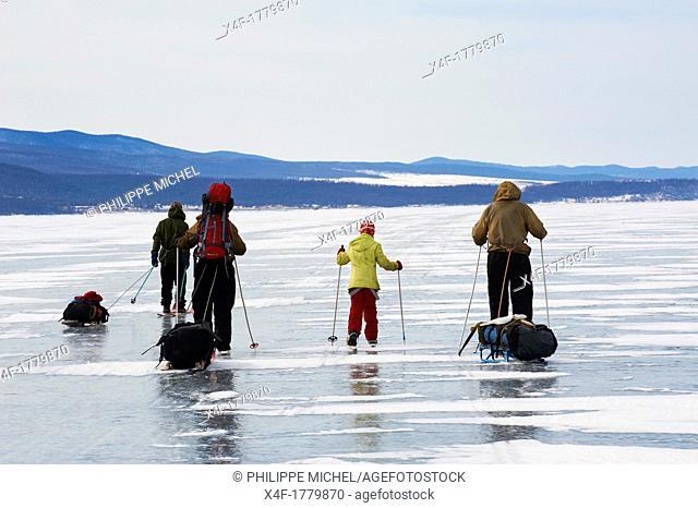 Russia, Siberia, Irkutsk oblast, Baikal lake, Maloe More little sea, frozen lake during winter, ice sking