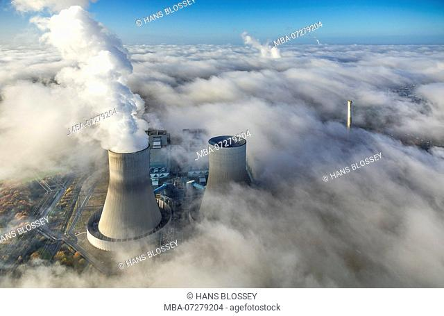 RWE Westfalen power plant, morning fog, clouds, the power plant emerging from the low cloud cover, Hamm, Ruhr area, North Rhine-Westphalia, Germany