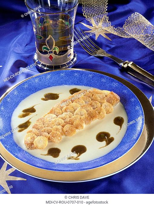 Red mullet with scale-shaped potatoes - Recipe of Paul Bocuse - Collonges au Mont d'Or - France