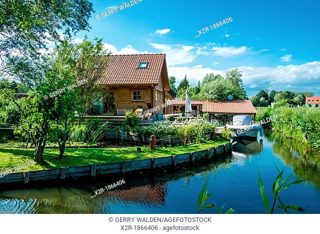 Housing on the canalbank at Houlle in the Pas-de-Calais, France