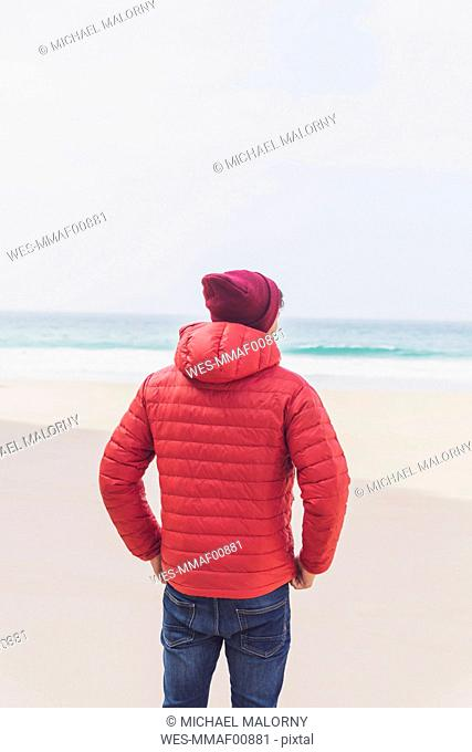 Portugal, Algarve, Sagres, Praia do Beliche, rear view of man with red cap and jacket on the beach