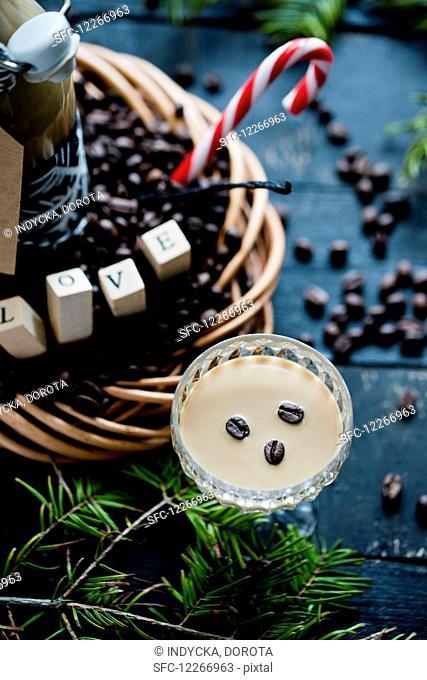 Coffee liqueur in a glass