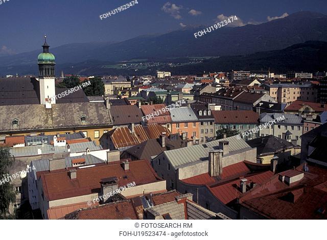 aerial, Austria, Innsbruck, Tirol, Alps, Aerial view of the city of Innsbruck