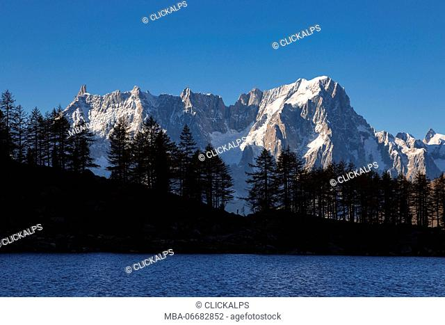 The Grandes Jorasses (Lake Arpy, Morgex, Aosta province, Aosta Valley, Italy, Europe)