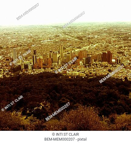Hilltop over large city, Bogota, Cundinamarca, Colombia