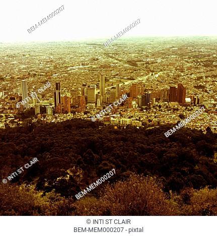 Hilltop over large city, Bogota, Cundinamarca, Colombia