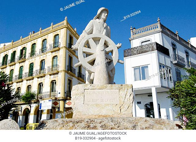 Monument to seamen at port. Ibiza. Balearic Islands, Spain