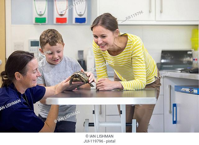 Child owner of pet tortoise on examination table with vet in surgery with parent