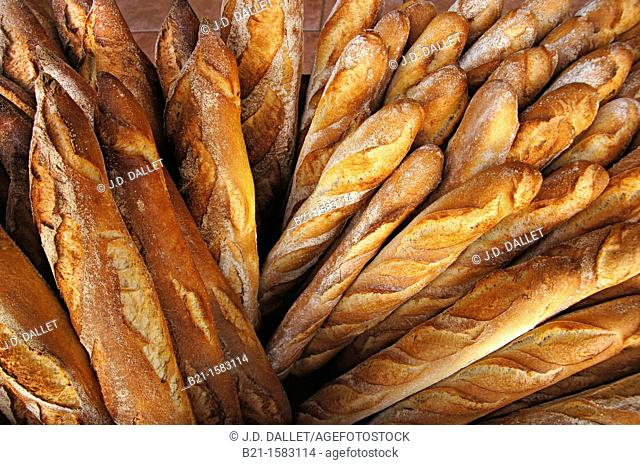France-Aquitaine-Dordogne- 'Baguette'  french breads at Montpon Menesterol
