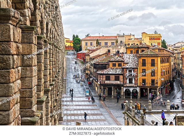 Roman aqueduct, Segovia. Castile-Leon, Spain