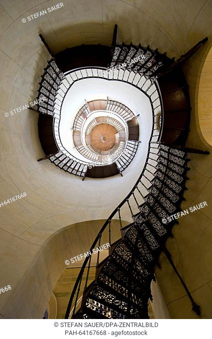A view of a cast-iron spiral staircase leading upwards in the hunting seat of Granitz, near Sellin on the island of Ruegen, Germany, 23 November 2015