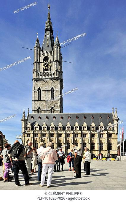 The belfry tower at the Saint Bavo's square / Sint-Baafsplein in Ghent, Belgium