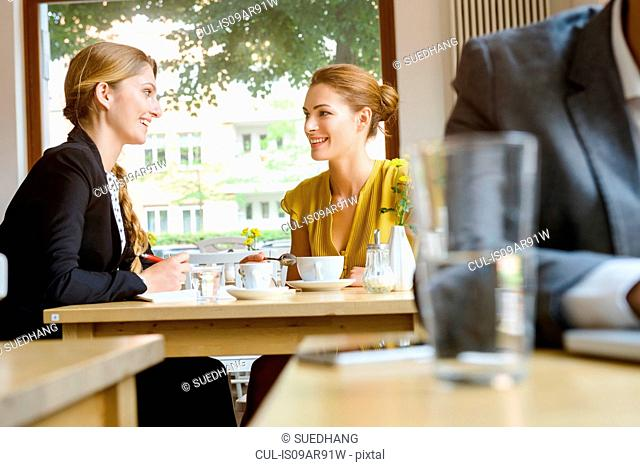 Two young female friends chatting in cafe