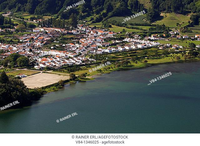 The village of Sete Cidades at the Crater Lake Lagoa Azul / Volcanic Crater Sete Cidades / Sao Miguel Island / Azores / Portugal