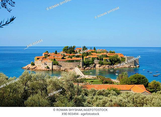 Panoramic composition of the historic Sveti Stefan famous for its traditional architecture  Budva, Montenegro