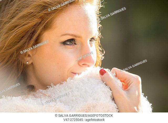 Portrait of a young redhead woman in the forest, Alboy, Genoves, Valencia, Spain, Europe