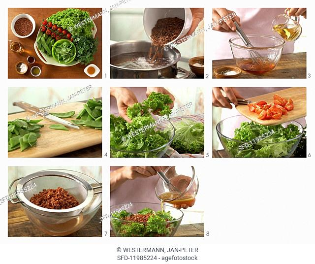 How to prepare vegetable salad with rice, tomato, mangetout and spinach