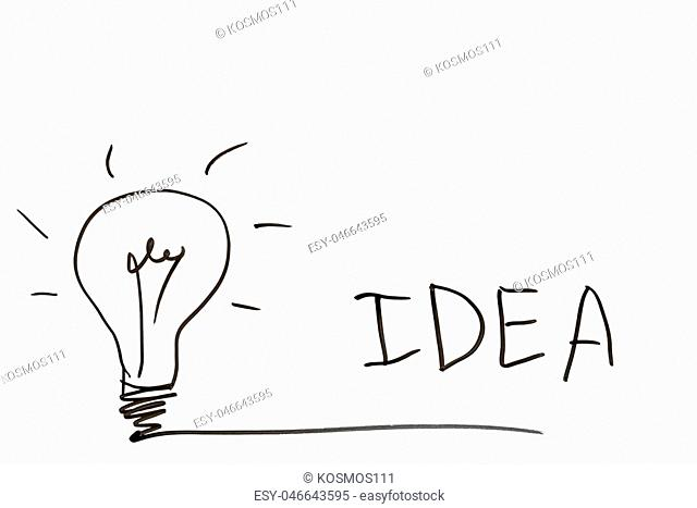 lightbulb and the word idea on a white board to the right place for an inscription
