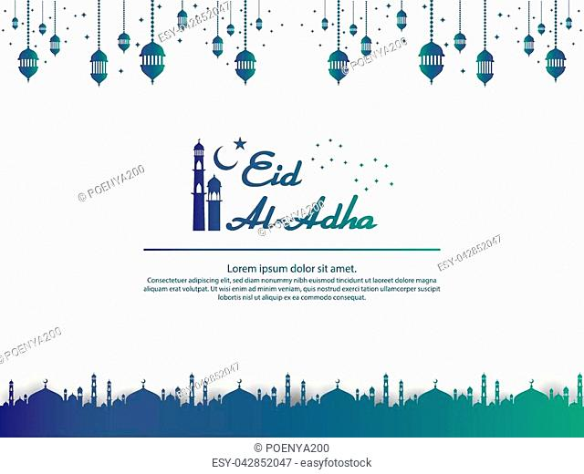 Eid al Adha Mubarak islamic greeting card design with dome mosque and hanging lantern element in paper cut style. background Vector illustration