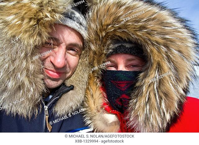 Canadian photographer Gilles Pucheu and his wife Marianne in Arctic clothingk near their home in Yellowknife, Northwest Territories, Canada