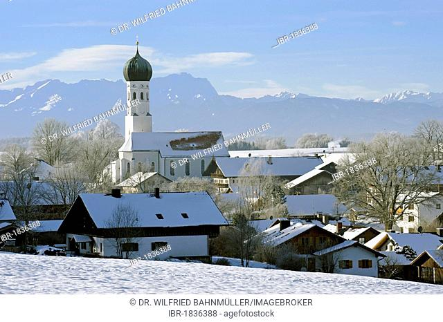 Hoarfrost in front of Mt. Zugspitze in the Wettersteingebirge range, Muensing, Upper Bavaria, Bavaria, Germany, Europe