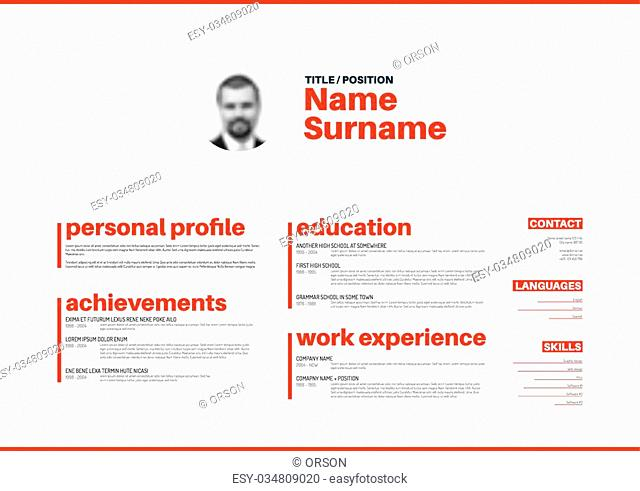 Vector minimalist cv / resume template with nice typogrgaphy design - horizontal red and white version