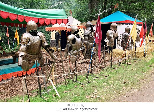 Camp and knight's armour medieval spectaculum Dortmund North Rhine-Westphalia Germany