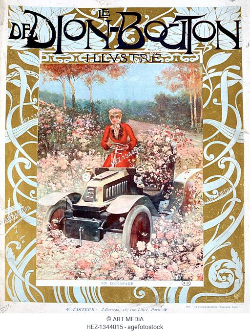 'The Skid', illustration from the magazine 'Le De Dion-Bouton', 1909. De Dion-Bouton was a French automobile manufacturer operating from 1883 to 1932