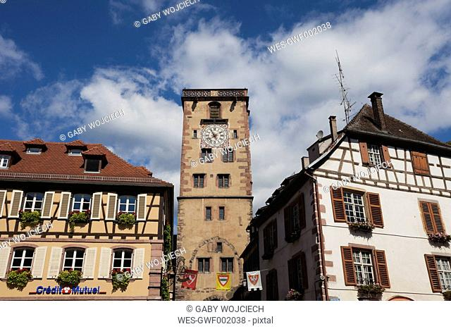 France, Alsace, View of Butcher's Tower in Ribeauville