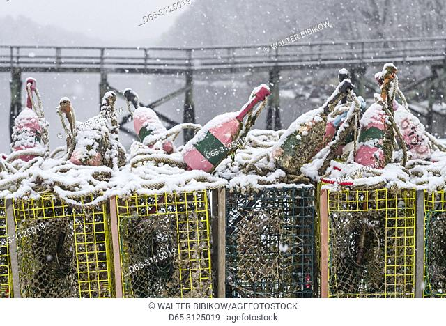 USA, New England, Cape Ann, Massachusetts, Annisquam, lobster traps, winter