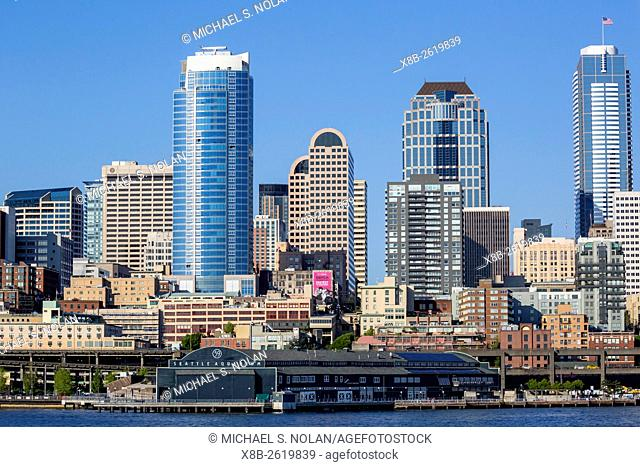 A view from Puget Sound of the downtown area of the seaport city of Seattle, King County, Washington, USA