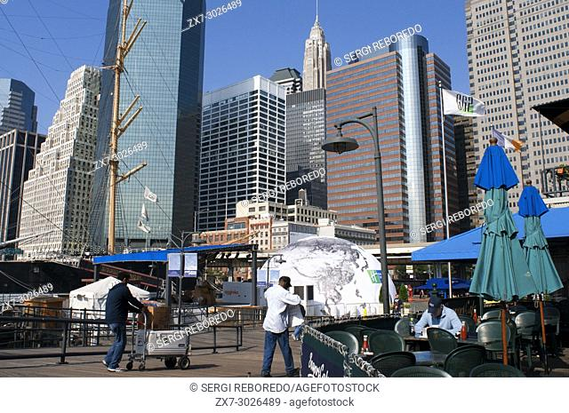 Buildings in front line in South Street and Seaport Pier 15, 16 and 17. Lower Manhattan, New York City, United States