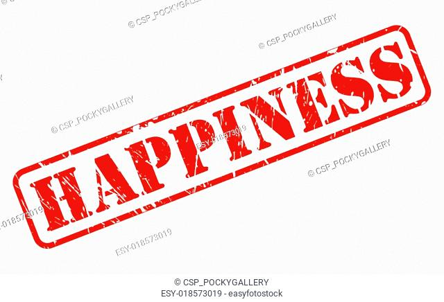 Happiness red stamp text