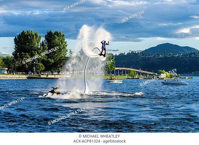 Flyboarder, Okanagan Lake, Kelowna,, British Columbia, Canada