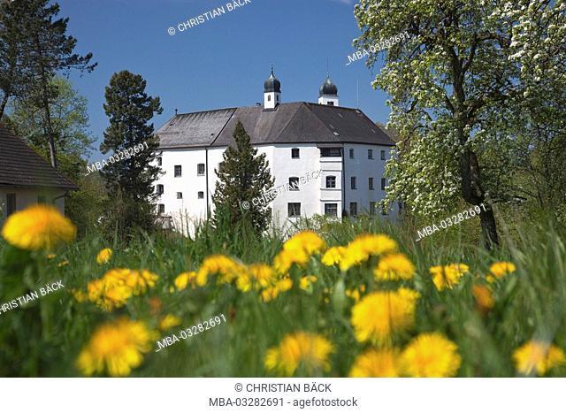 Castle Amerang in the spring, Chiemgau, Upper Bavaria, Bavaria, South Germany, Germany