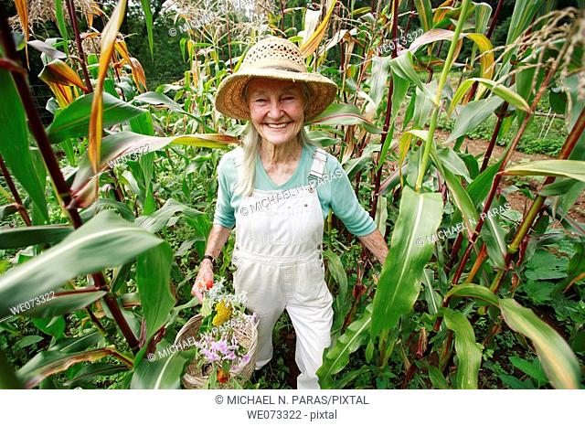 Senior woman with straw hat looking into camera standing in her corn field