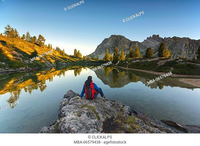 Limedes lake in Falzarego pass, Belluno province, Veneto, Italy