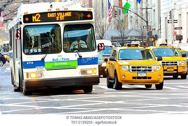 Morning rush hour traffic, Mass Transit, MTA M2 Public Transportation Bus, Metropolitan Transportation Authority, Midtown Manhattan, via 5th Avenue