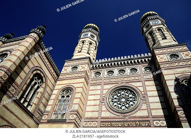 The Great Synagogue of Budapest is the largest in Europe and the second largest in the world. Hungary, Budapest, Pest, Erzsebetvaros, Dohany street