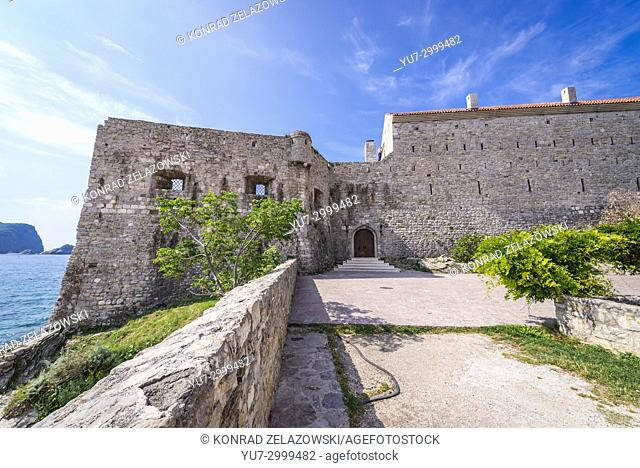 Walls of citadel on the Old Town of Budva city on the Adriatic Sea coast in Montenegro
