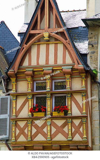 Historic facade in the centre, Quimper, Brittany, France